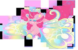 Size: 3525x2270 | Tagged: safe, artist:vanillaswirl6, pinkie pie, breezie, pony, breeziefied, eyes closed, fluffy, happy, open mouth, redraw, simple background, species swap, transparent background