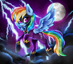 Size: 1170x1024 | Tagged: safe, artist:meqiopeach, derpibooru exclusive, rainbow dash, pegasus, luna eclipsed, art, clothes, cloud, costume, cute, cutie mark, dark clouds, dashabetes, digital, drawing, fanart, flying, halloween, halloween costume, holiday, lightning, moon, multicolored hair, my little pony, night, night sky, nightmare night, nightmare night costume, rainbow, rainbow hair, raised hoof, raised tail, shading, shadowbolt dash, shadowbolts, shadowbolts costume, simple background, sky, smiling, solo, spread wings, tail, wings