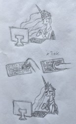 Size: 699x1136 | Tagged: safe, artist:kabayo, princess celestia, alicorn, pony, comic, computer, female, hooves, horse problems, keyboard, monochrome, pencil drawing, solo, traditional art
