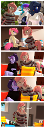 Size: 2112x5996 | Tagged: safe, artist:anthroponiessfm, oc, oc:atari, oc:aurora starling, oc:midnight music, oc:raven storm, oc:spicy flavor, earth pony, pony, unicorn, anthro, 3d, :p, anthro oc, blushing, booty shorts, clothes, comic, cute, denim shorts, face licking, female, glasses, heterochromia, licking, looking at each other, looking at you, mlem, shirt, shorts, silly, smiling, source filmmaker, sports bra, surprised, sweater, tongue out