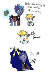 Size: 700x1000 | Tagged: safe, artist:ce2438, oc, oc only, oc:moonlight toccata, oc:stormy squall, pegasus, pony, unicorn, annoyed, bag, cellphone, clothes, comic, confused, d:, dialogue, glowing horn, hoof hold, horn, lightning, magic, millennial, ok boomer, open mouth, pegasus oc, phone, saddle bag, simple background, smartphone, surprised, telekinesis, unicorn oc, white background, wings, zoomer