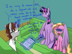 Size: 881x658 | Tagged: safe, artist:ce2438, luster dawn, twilight sparkle, oc, alicorn, pony, unicorn, cancer (disease), clipboard, clothes, couch, doctor, female, frown, glasses, glowing horn, grimderp, horn, hug, lab coat, magic, mare, mouth hold, pencil, pencil in mouth, pica, sad, sitting, telekinesis, twilight sparkle (alicorn), unicorn oc, winghug