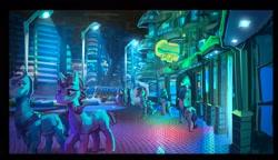 Size: 2700x1560 | Tagged: safe, artist:alumx, neon lights, griffon, pony, city, griffin village, night, streetlight
