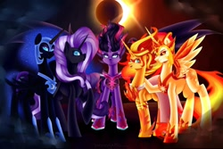 Size: 1280x854 | Tagged: safe, artist:yoonergetic, daybreaker, nightmare moon, nightmare rarity, princess celestia, princess luna, rarity, sunset shimmer, twilight sparkle, alicorn, pony, unicorn, equestria girls, commission, daydream shimmer, eclipse, group, midnight sparkle, twilight sparkle (alicorn)