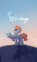 Size: 1200x2000 | Tagged: safe, artist:mirtash, lightning dust, pegasus, pony, backlighting, chest fluff, ear fluff, female, looking up, mare, night, one wing out, outdoors, profile, raised hoof, sky, solo, spread wings, standing, stars, wings