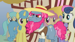 Size: 2000x1124 | Tagged: safe, screencap, bon bon, dizzy twister, lemon hearts, orange swirl, rainbowshine, sunshower raindrops, sweetie drops, earth pony, pegasus, pony, too many pinkie pies, background pony, beard, clothes, facial hair, female, frown, hat, haymish, male, mare, solo focus, stallion, straw hat