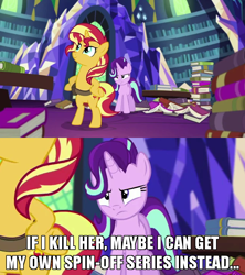 Size: 640x720   Tagged: safe, edit, edited screencap, screencap, starlight glimmer, sunset shimmer, pony, unicorn, equestria girls, mirror magic, spoiler:eqg specials, bipedal, book, caption, cropped, cute, duo, female, frown, hooves on hips, horses doing human things, image macro, imminent death, in the human world for too long, inconvenient starlight, jealous, library, mare, meme, shimmerbetes, text, this will end in gulag, twilight's castle, twilight's castle library, unamused, zoomed in