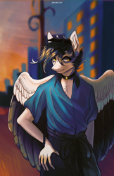 Size: 1330x2048 | Tagged: safe, artist:orfartina, oc, oc only, anthro, pegasus, anthro oc, clothes, male, solo, stallion