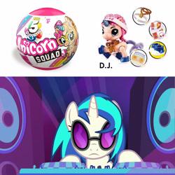 Size: 1600x1600 | Tagged: safe, edit, edited screencap, screencap, dj pon-3, vinyl scratch, pony, unicorn, fake it 'til you make it, female, frown, mare, photo, speakers, sunglasses, toy, turntable, unamused, vinyl scratch is not amused, zuru 5 surprise