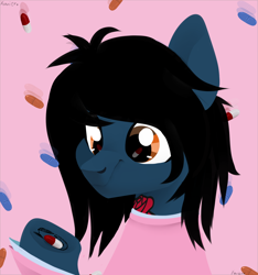 Size: 1500x1600 | Tagged: safe, artist:shiny, earth pony, pony, bring me the horizon, bust, clothes, commission, equestria girls ponified, hoof hold, long sleeves, looking down, male, messy mane, oliver sykes, pills, pink background, ponified, shirt, short, simple background, stallion, tattoo, underhoof, undershirt, ych result