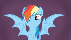 Size: 1920x1080 | Tagged: safe, artist:kazamacat, rainbow dash, bat pony, vampire, vampony, fanfic:the master mev, bat ponified, bat wings, fanfic art, race swap, rainbowbat, red eyes, show accurate, smiling, smirk, solo, wings