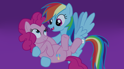 Size: 1920x1080   Tagged: safe, artist:kazamacat, pinkie pie, rainbow dash, earth pony, pegasus, pony, fanfic:the master mev, cute, duo, fangs, female, lesbian, pinkiedash, shipping, show accurate, smiling