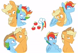 Size: 1920x1310 | Tagged: safe, artist:chub-wub, applejack, rainbow dash, earth pony, pegasus, pony, accessory theft, appleblitz (gay), appleblitz (straight), appledash, appledash (straight), applejack (male), applejack's hat, bedroom eyes, blushing, cowboy hat, female, gay, half r63 shipping, hat, hug, lesbian, male, mare, no homo, rainbow blitz, redraw, rule 63, shipping, stallion, straight, tongue out, tsundere, winghug