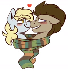 Size: 1704x1795   Tagged: safe, artist:lrusu, derpy hooves, doctor whooves, time turner, pony, blushing, boop, clothes, cute, derpabetes, doctorbetes, doctorderpy, female, heart, male, mare, nervous grin, scarf, shared clothing, shared scarf, shipping, simple background, smiling, stallion, straight, white background