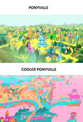 Size: 1232x1824 | Tagged: safe, edit, edited screencap, screencap, inspiration manifestation, my little pony: pony life, pony life, princess probz, acid trip, coast, comparison, crystal, gold, golden road, logo, no pony, ponyville, ponyville schoolhouse, ponyville town hall, river, scenery, stephen davis, text, town, transformed, treehouse logo, water