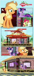 Size: 1919x4225 | Tagged: safe, artist:estories, apple bloom, applejack, twilight sparkle, alicorn, earth pony, pony, comic:a(pple)ffection, applejack's hat, comic, cowboy hat, floppy ears, hat, shocked, show accurate, train station, twilight is not amused, twilight sparkle (alicorn), unamused, worried