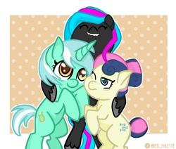 Size: 1280x1083 | Tagged: safe, artist:redpalette, bon bon, lyra heartstrings, sweetie drops, oc, oc:obabscribbler, earth pony, pony, unicorn, cute, earth pony oc, female, happy, hug, mare, smiling