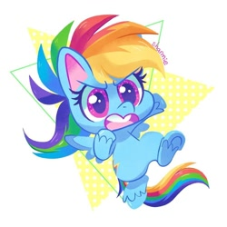 Size: 998x998 | Tagged: safe, artist:sharmie, rainbow dash, pegasus, pony, my little pony: pony life, abstract background, bipedal, chibi, cute, female, mare, running, solo, underhoof, unshorn fetlocks, weapons-grade cute