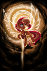 Size: 2000x3000 | Tagged: safe, artist:rocket-lawnchair, sunset shimmer, pony, unicorn, artificial wings, atg 2020, augmented, female, flying, halo, magic, magic wings, mare, newbie artist training grounds, smiling, solo, wings
