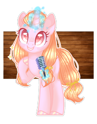 Size: 1064x1358 | Tagged: safe, artist:waterart350087, oc, oc only, oc:honey pie, pony, unicorn, female, magic, mare, microphone, simple background, solo, telekinesis, transparent background, white outline