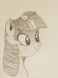 Size: 1661x2216 | Tagged: safe, artist:polar_storm, twilight sparkle, alicorn, pony, bust, female, happy, mare, monochrome, neo noir, partial color, purple eyes, simple background, sketch, solo, traditional art, twilight sparkle (alicorn), white background