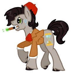 Size: 663x682 | Tagged: safe, artist:void-adoptables, doctor whooves, time turner, earth pony, pony, doctor who, eleventh doctor, fez, hat, matt smith, simple background, solo, sonic screwdriver, transparent background, unshorn fetlocks