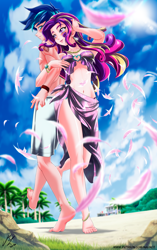 Size: 2754x4376 | Tagged: safe, artist:mauroz, princess cadance, shining armor, human, anime, barefoot, beach, belly button, bracelet, breasts, cleavage, cloud, ear piercing, earring, feather, feet, female, humanized, jewelry, male, necklace, palm tree, piercing, rock, shiningcadance, shipping, sky, straight, tattoo, tree