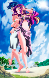 Size: 2754x4376 | Tagged: safe, alternate version, artist:mauroz, princess cadance, shining armor, human, anime, barefoot, beach, belly button, bracelet, breasts, cleavage, cloud, ear piercing, earring, feet, female, humanized, jewelry, male, necklace, palm tree, piercing, rock, shiningcadance, shipping, sky, straight, tattoo, tree
