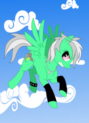 Size: 1696x2325 | Tagged: safe, artist:rikastormfeldthefox, oc, oc only, oc:chaos storm, pegasus, pony, angry, cloud, ear piercing, female, flying, jewelry, leg warmers, mare, necklace, pegasus oc, piercing, solo, spiked wristband, wings, wristband