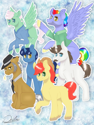 Size: 768x1024 | Tagged: safe, artist:delfinaluther, bow hothoof, bright mac, gentle breeze, hondo flanks, igneous rock pie, night light, earth pony, pegasus, pony, unicorn, dad six, father, father's day, male, stallion