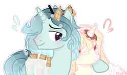 Size: 3197x1876 | Tagged: safe, artist:lazuli, oc, oc only, pony, unicorn, cookie, donut, duo, eye clipping through hair, female, food, horn, horn impalement, male, mare, side hug, simple background, smiling, solo, stallion, transparent background, unicorn oc