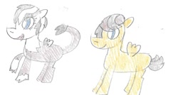 Size: 1339x717 | Tagged: safe, artist:ptitemouette, oc, oc:birdy, oc:honey pot, hippogriff, hybrid, interspecies offspring, offspring, parent:dumbbell, parent:gilda, parent:hoops, parents:dumbhoops, parents:gildabell