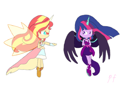 Size: 1080x810 | Tagged: safe, artist:pink flame, sci-twi, sunset shimmer, twilight sparkle, equestria girls, friendship games, artificial wings, augmented, daydream shimmer, helping, magic, magic wings, midnight sparkle, scared, scene interpretation, wings