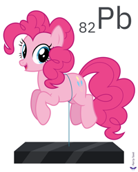 Size: 6400x8000 | Tagged: safe, artist:parclytaxel, pinkie pie, earth pony, pony, series:joycall6's periodic table, .svg available, absurd resolution, chemistry, female, floating, lead, looking at you, mare, periodic table, pinkie being pinkie, pinkie physics, simple background, slab, smiling, solo, vector, white background