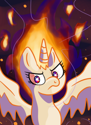 Size: 1440x1980 | Tagged: safe, artist:superhypersonic2000, twilight sparkle, alicorn, pony, angry, female, fiery mane, fire, frown, mare, rapidash twilight, solo, spread wings, twilight sparkle (alicorn), wings