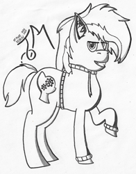 Size: 1673x2133 | Tagged: safe, artist:toli mintdrop, oc, oc:blue gear, earth pony, pony, clothes, fullbody, hoodie, lineart, redraw, solo, traditional art, wip