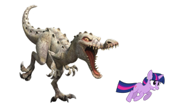 Size: 4500x2702 | Tagged: safe, artist:estories, edit, vector edit, twilight sparkle, dinosaur, pony, unicorn, baryonyx, ice age, ice age 3: dawn of the dinosaurs, rudy, running, simple background, transparent background, unicorn twilight, vector