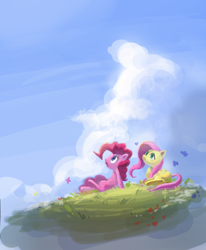 Size: 1250x1517 | Tagged: safe, artist:nendo, fluttershy, pinkie pie, butterfly, earth pony, pegasus, pony, cloud, duo, female, floating island, folded wings, looking away, looking up, mare, open mouth, outdoors, prone, sitting, sky, smiling, wings