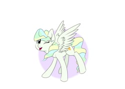 Size: 1125x800 | Tagged: safe, artist:pottedphyllis, vapor trail, pegasus, pony, ear fluff, female, looking at you, mare, one eye closed, open mouth, partial background, simple background, smiling, solo, spread wings, standing, three quarter view, white background, wings, wink