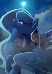 Size: 2894x4093 | Tagged: safe, artist:chickenbrony, artist:cottonaime, princess luna, alicorn, pony, :o, cloud, constellation, ethereal mane, female, galaxy mane, glowing horn, high res, horn, lidded eyes, looking up, mare, night, open mouth, profile, raised hoof, sky, smoke, solo, spread wings, starry mane, wings
