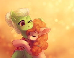 Size: 2547x2019   Tagged: safe, artist:koviry, granny smith, pear butter, earth pony, pony, cute, daughter in law, duo, ear fluff, eyes closed, female, high res, hug, mare, mother in law