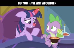 Size: 1532x994 | Tagged: safe, artist:titus16s, edit, edited screencap, screencap, spike, twilight sparkle, alicorn, dragon, pony, ail-icorn, spoiler:interseason shorts, bed, caption, duo, food, horn, image macro, meme, red nosed, sick, sicklight sparkle, soup, swollen horn, text, twilight sparkle (alicorn), winged spike