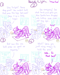 Size: 4779x6013 | Tagged: safe, artist:adorkabletwilightandfriends, cloudchaser, twilight sparkle, alicorn, pegasus, pony, comic:adorkable twilight and friends, adorkable, adorkable twilight, ass up, caught, comic, cute, dork, example, exercise, face down ass up, fitness, fraud, healing, humor, humorstretching, magic, poster, struggle, struggling, sweat, twilight sparkle (alicorn), yoga