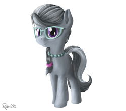 Size: 2444x2160 | Tagged: safe, artist:robsa990, silver spoon, earth pony, pony, beads, braid, female, filly, glasses, jewelry, looking at you, necklace, signature, simple background, solo, white background