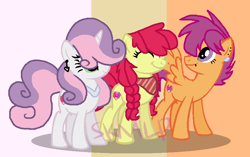 Size: 816x514   Tagged: safe, artist:skittleartmlp, apple bloom, scootaloo, sweetie belle, earth pony, pegasus, pony, unicorn, cutie mark crusaders, eyes closed, older, older apple bloom, older scootaloo, older sweetie belle, trio