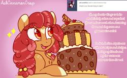Size: 1150x712 | Tagged: safe, artist:esmeia, oc, oc:cinnamon crisp, earth pony, pony, ask, cake, earth pony oc, female, food, mare, open mouth, solo, tumblr