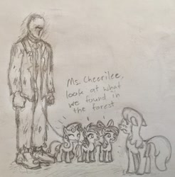 Size: 1119x1136   Tagged: safe, apple bloom, cheerilee, scootaloo, sweetie belle, oc, oc:anon, pony, /mlp/, angry, disgruntled, drawthread, leash, menacing, traditional art