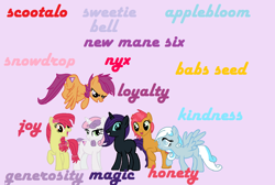 Size: 1354x912 | Tagged: safe, artist:florfru, apple bloom, babs seed, scootaloo, sweetie belle, oc, oc:nyx, oc:snowdrop, alicorn, earth pony, pegasus, pony, unicorn, alternate mane six, flying, horn, misspelling, older, older apple bloom, older babs seed, older scootaloo, older sweetie belle, pegasus oc, scootaloo can fly, unicorn nyx, unicorn oc, wings