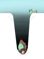 Size: 2000x2700 | Tagged: safe, artist:tigerett, sandbar, yona, earth pony, pony, yak, atg 2020, bow, breaking the fourth wall, cloven hooves, duo, female, hair bow, literal, male, monkey swings, newbie artist training grounds, pit, simple background, sinking, surprised, transparent background, worried