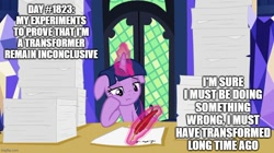 Size: 888x499 | Tagged: safe, edit, edited screencap, screencap, twilight sparkle, alicorn, pony, once upon a zeppelin, caption, female, floppy ears, image macro, magic, mare, meme, paper, quill, solo, telekinesis, text, transformers, twilight sparkle (alicorn), writing